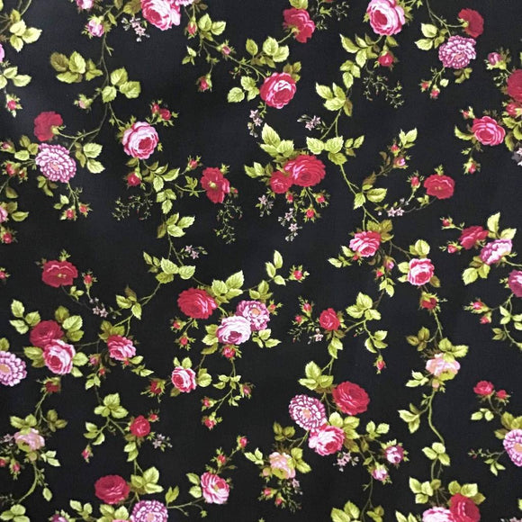 Black Rose Floral Print Poly Cotton Fabric - Fashion Fabrics Los Angeles