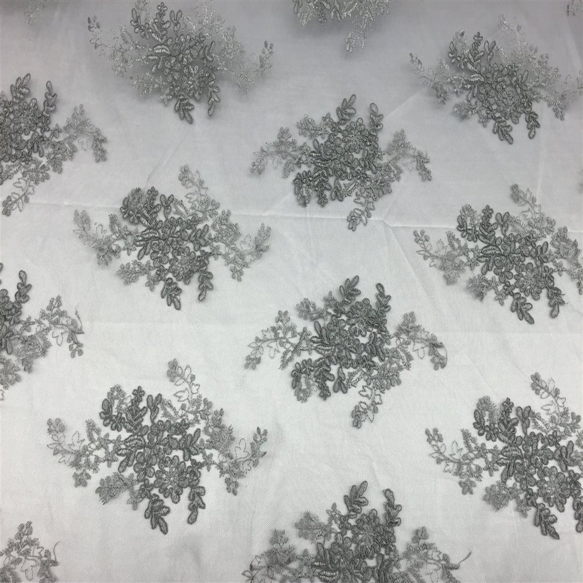 Gray Oswald Embroidered Lace Fabric - Fashion Fabrics Los Angeles