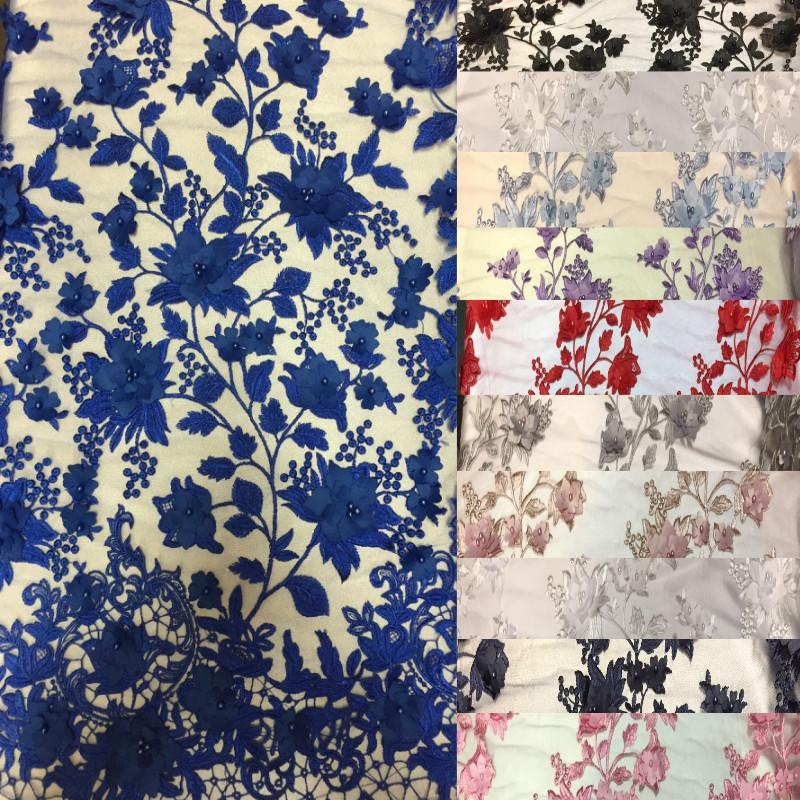 Royal Blue 3D Embroidered Satin Floral Pearl Lace Fabric - Fashion Fabrics LLC