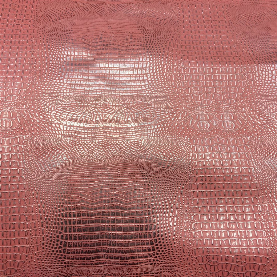 Pink Silver 2 Tone Metallic Gator Vinyl - Fashion Fabrics Los Angeles
