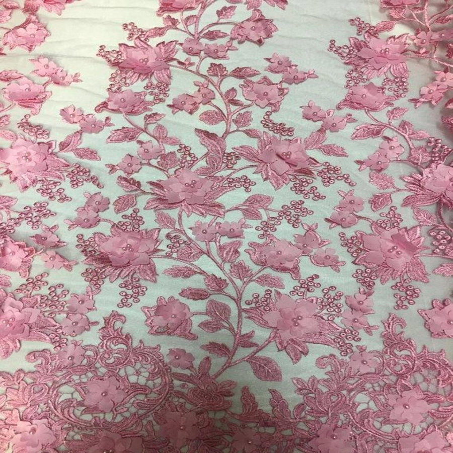 Pink 3D Embroidered Satin Floral Pearl Lace Fabric - Fashion Fabrics LLC