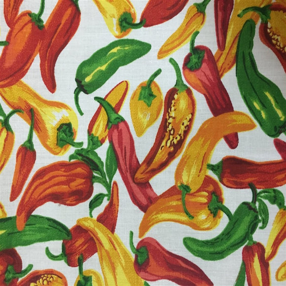 White Vegetable Pepper Print Poly Cotton Fabric