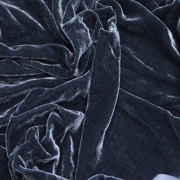 Charcoal Gray Silk Velvet Fabric - Fashion Fabrics Los Angeles