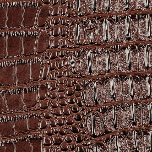 Dark Brown Metallic Gator Vinyl Fabric - Fashion Fabrics Los Angeles