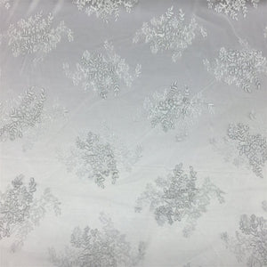 White Silver Oswald Embroidered Lace Fabric