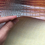 Dark Brown Gold Two Tone Embossed Crocodile Vinyl Fabric - Fashion Fabrics Los Angeles