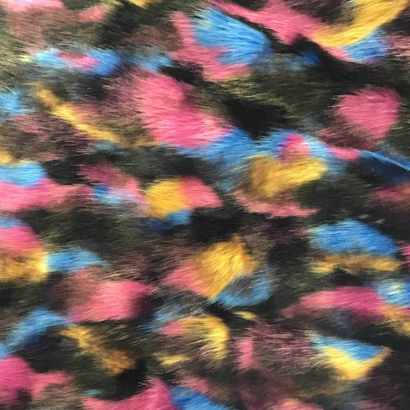 Pink Black Blue Yellow Puzzled Multicolor Faux Fur Fabric - Fashion Fabrics Los Angeles