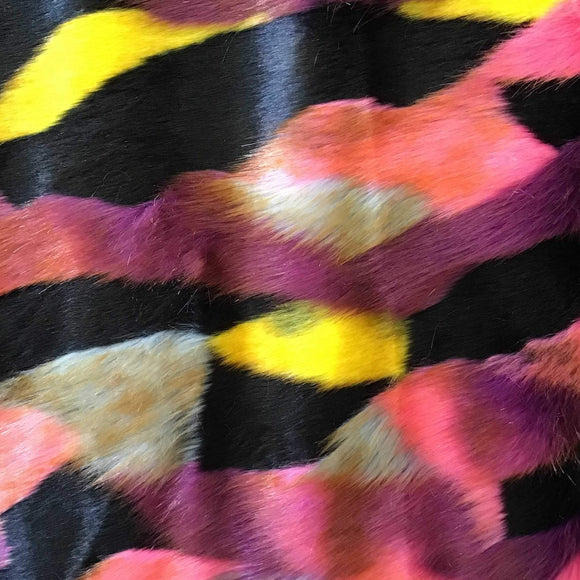 Black Pink Beige Yellow Puzzled Multicolor Faux Fur Fabric - Fashion Fabrics Los Angeles