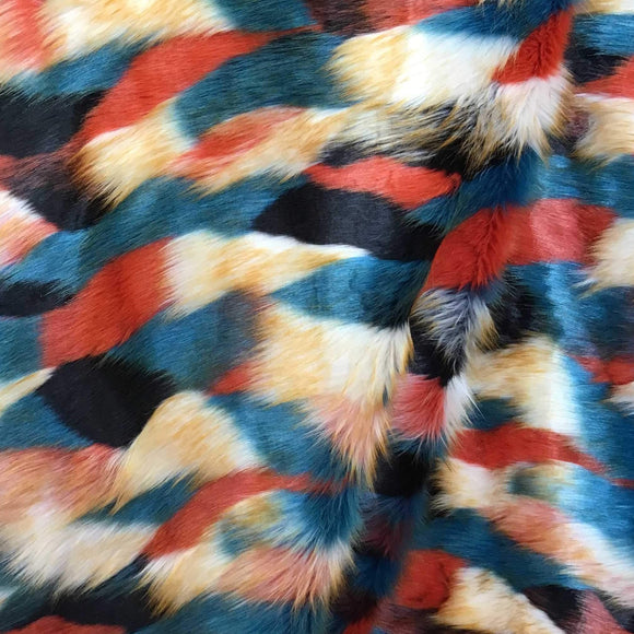 Red Beige Teal Black Puzzled Multicolor Faux Fur Fabric - Fashion Fabrics Los Angeles