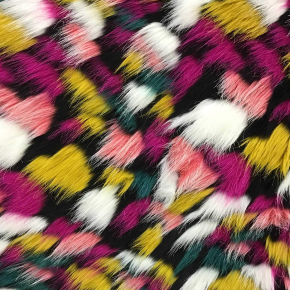 Universal Puzzled Multicolor Faux Fur Fabric - Fashion Fabrics Los Angeles