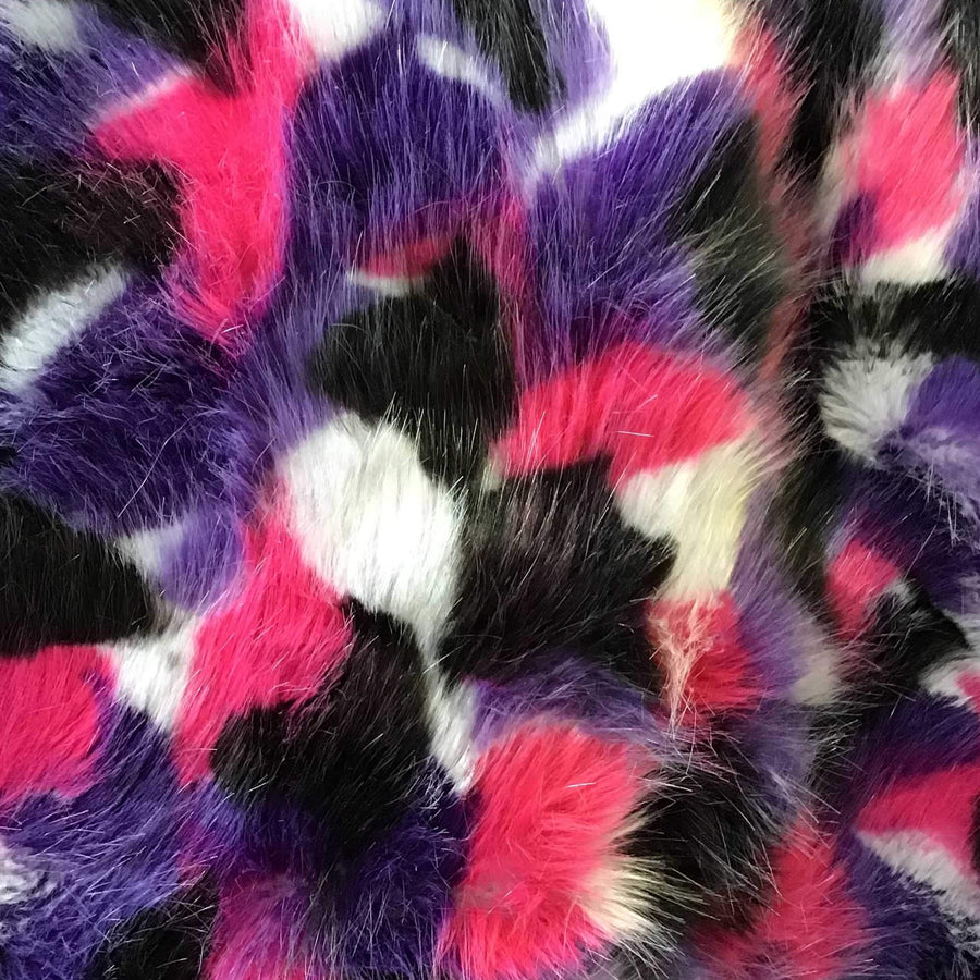 Purple White Black Pink Puzzled Multicolor Faux Fur Fabric - Fashion Fabrics Los Angeles