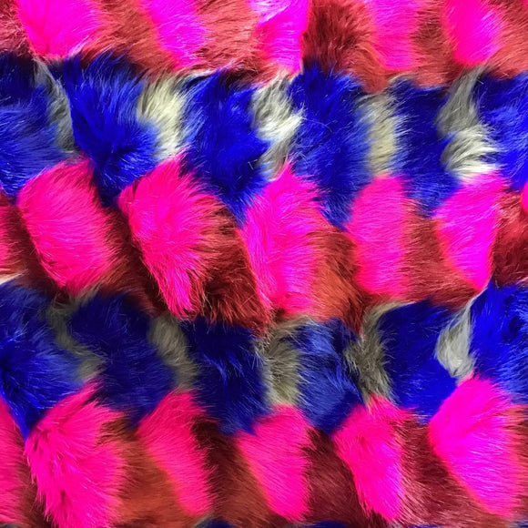 Pink Blue White Puzzled Multicolor Faux Fur Fabric - Fashion Fabrics Los Angeles