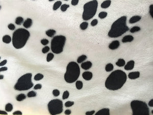 Black White Puppy Paw Print Faux Fur - Fashion Fabrics Los Angeles