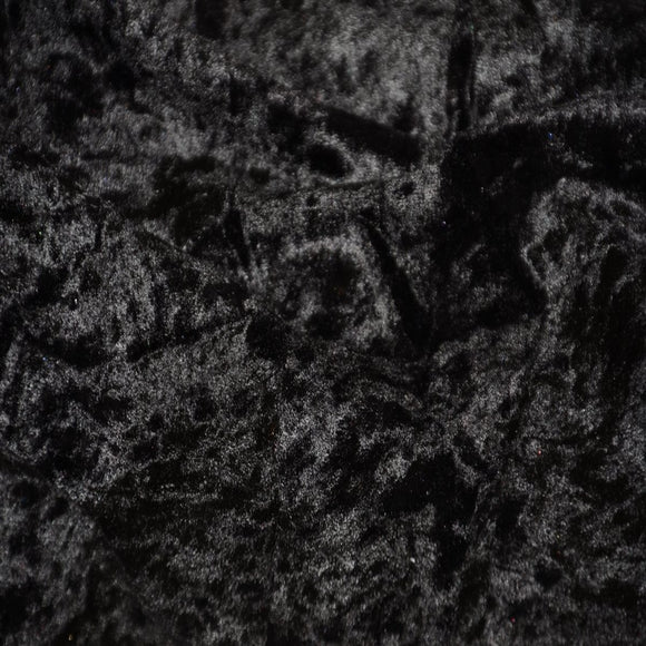 Black Panne Crush Stretch Velvet Fabric - Fashion Fabrics Los Angeles