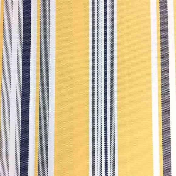 Blue Yellow White Multi Striped Oak 100% Waterproof Outdoor Canvas Patio Fabric - Fashion Fabrics Los Angeles