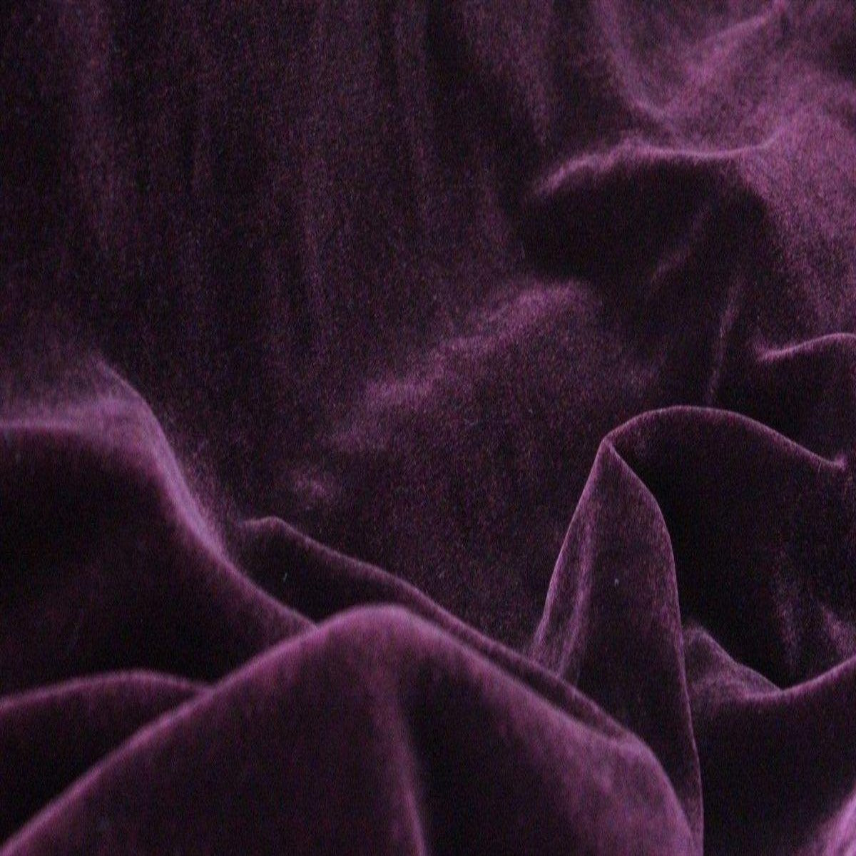 Eggplant Purple Silk Velvet Fabric