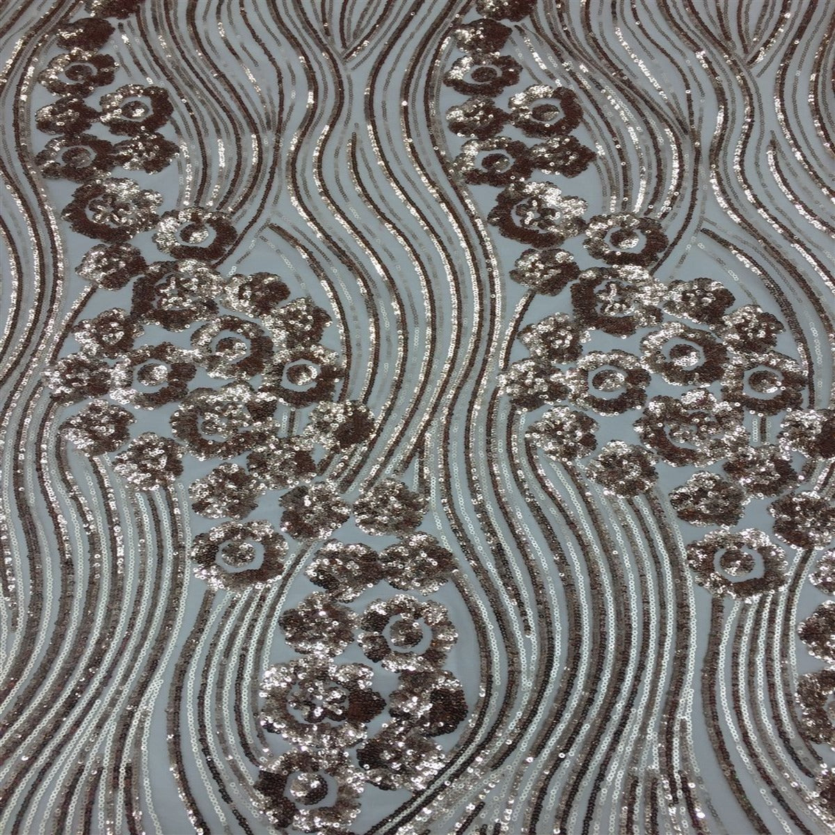 Champagne Gold Jennifer Rose Floral Flame Sequin Lace Fabric - Fashion Fabrics Los Angeles