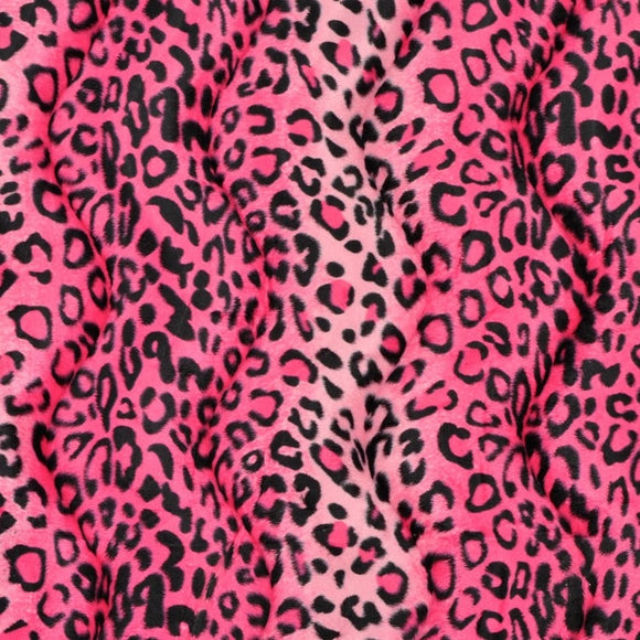 Pink Leopard Velboa Faux Fur - Fashion Fabrics Los Angeles
