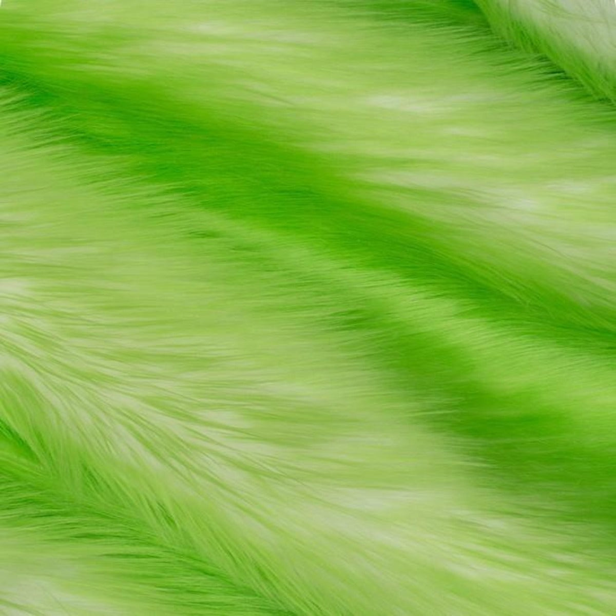Lime Green | White Luxury Faux Fur Shag Fabric - Fashion Fabrics Los Angeles