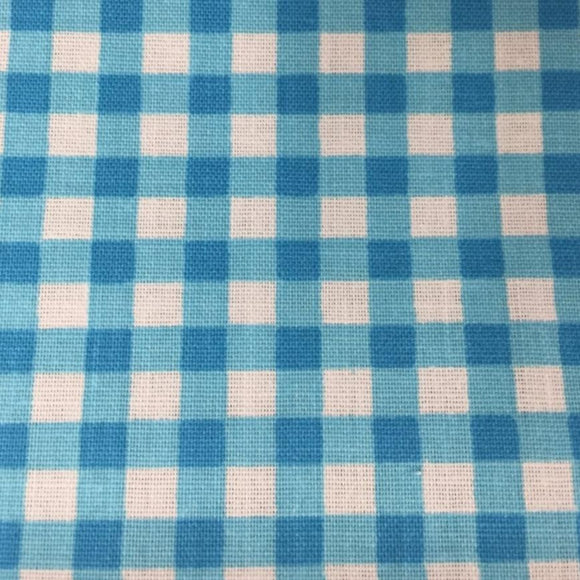 Aqua Blue White Mini Checkered Poly Cotton Fabric - Fashion Fabrics Los Angeles