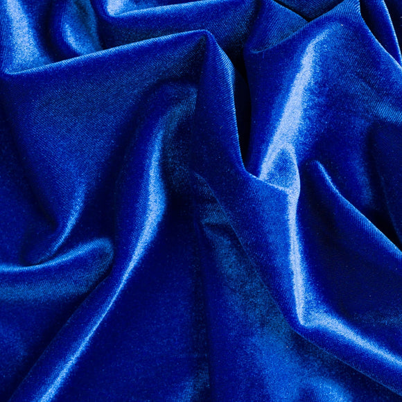 Royal Blue Stretch Velvet Apparel Spandex Fabric