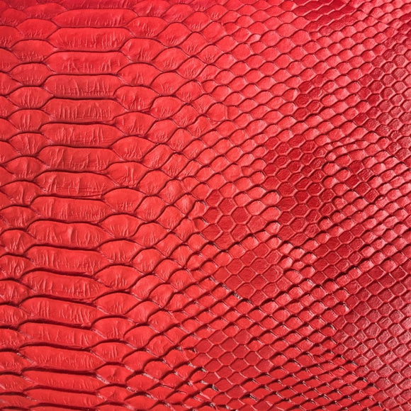 Red Faux Viper Sopythana Snake Skin Vinyl - Fashion Fabrics Los Angeles