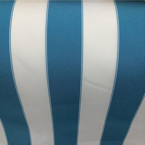 Aqua / White Striped Outdoor Fabric - Fashion Fabrics Los Angeles