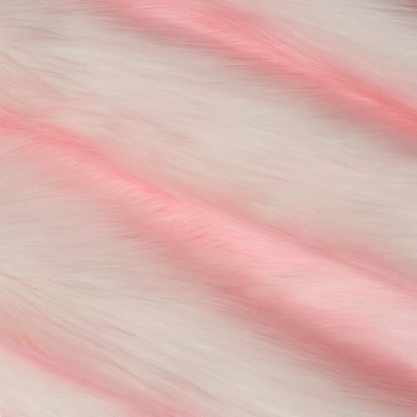 Baby Pink | White Luxury Faux Fur Shag Fabric - Fashion Fabrics Los Angeles