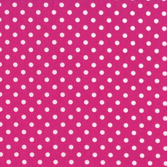 Hot Pink White Small Polka Dot Print Poly Cotton Fabric - Fashion Fabrics Los Angeles