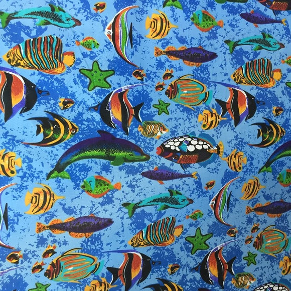 Aqua Blue Aquarium Fish Tank Print Poly Cotton Fabric - Fashion Fabrics Los Angeles
