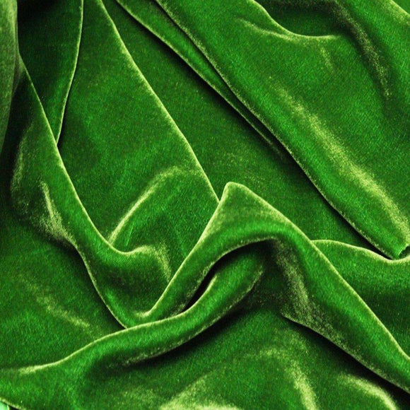 Green Silk Velvet Fabric - Fashion Fabrics Los Angeles