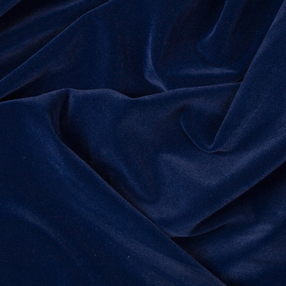 Solid Navy Velvet Flocking