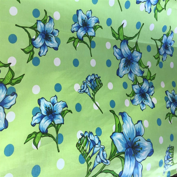 Green Lily Flowers Poly Cotton Fabric - Fashion Fabrics Los Angeles