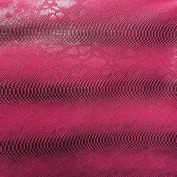 Pink Black Two Tone Faux Viper Sopythana Snake Skin Vinyl - Fashion Fabrics Los Angeles