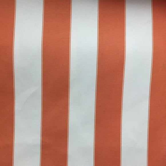 Orange Ivory Striped Outdoor Canvas Fabric - Fashion Fabrics Los Angeles