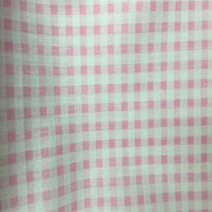 Light Pink White Gingham Checkered Poly Cotton Fabric - Fashion Fabrics Los Angeles