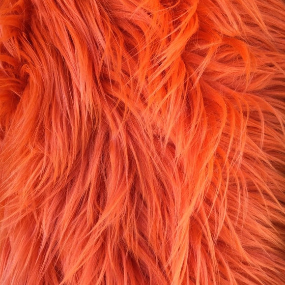 Orange Luxury Long Pile Shaggy Faux Fur Fabric