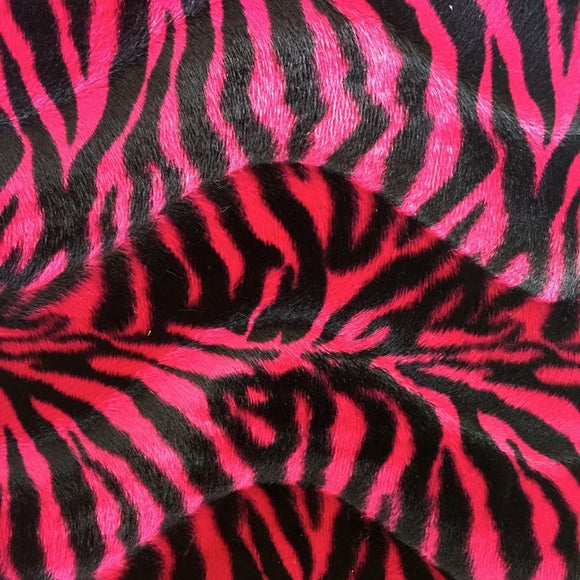 Pink Small Zebra Velboa Faux Fur Fabric