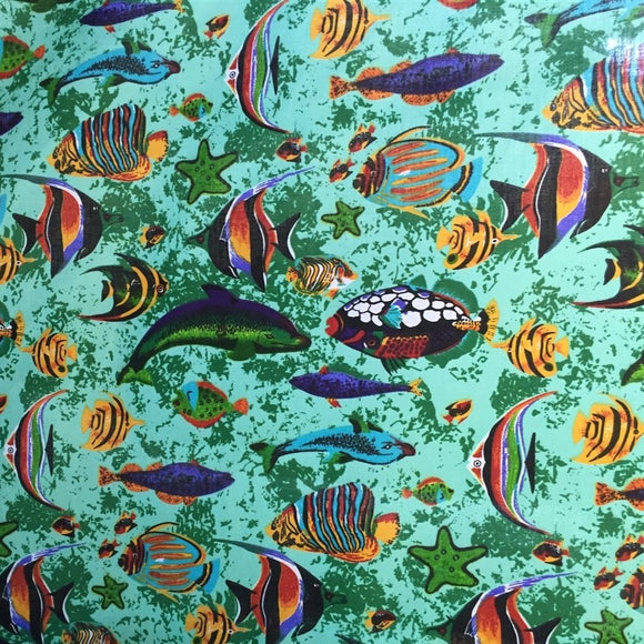 Green Aquarium Fish Tank Print Poly Cotton Fabric - Fashion Fabrics Los Angeles