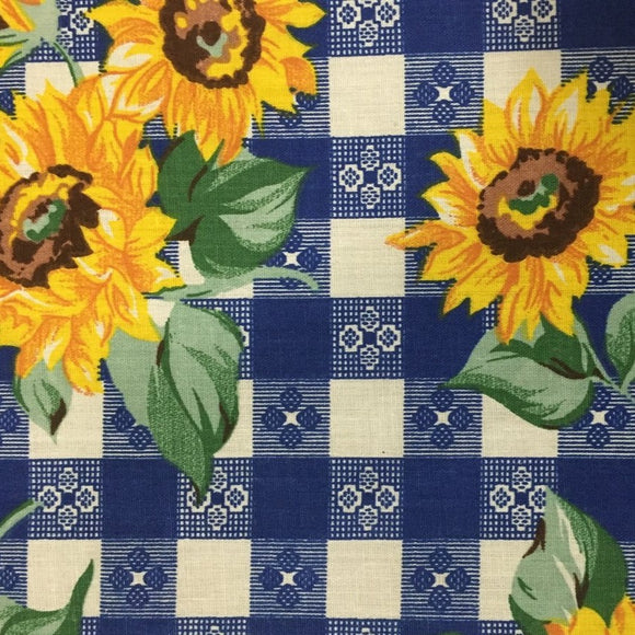 Blue Plaid Daisy Print Poly Cotton Fabric - Fashion Fabrics Los Angeles