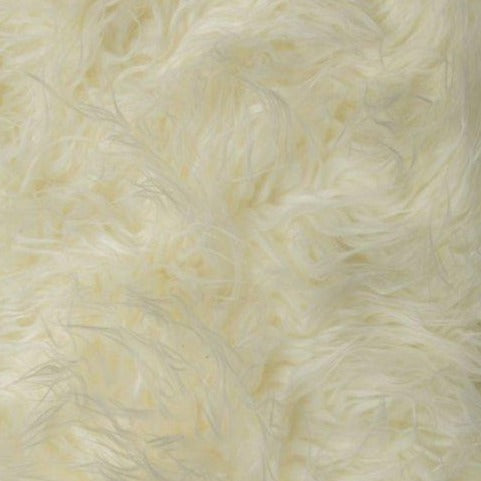 Ivory Mongolian Long Pile Faux Fur Fabric - Fashion Fabrics Los Angeles