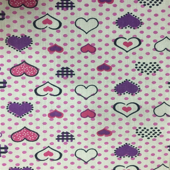 Purple Pink Dotted Hearts Print Poly Cotton Fabric