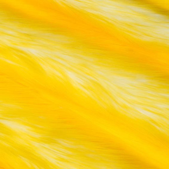 Yellow | White Luxury Faux Fur Shag Fabric - Fashion Fabrics Los Angeles