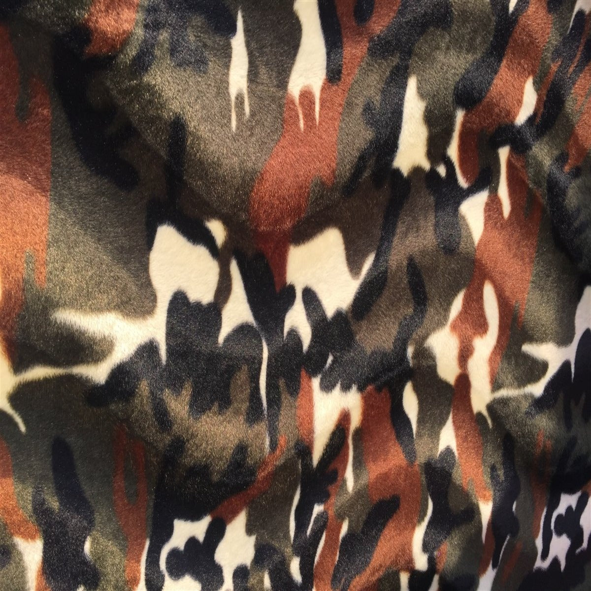 Camouflage Cow Velboa Faux Fur - Fashion Fabrics Los Angeles