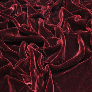 Burgundy Silk Velvet Fabric - Fashion Fabrics Los Angeles