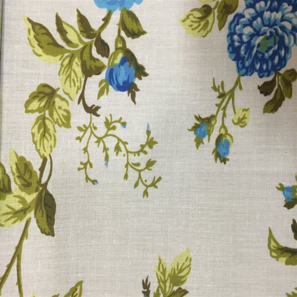 White Blue Rose Floral Print Poly Cotton Fabric