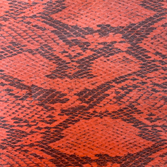 Orange Piuma Snakeskin Vinyl Fabric - Fashion Fabrics Los Angeles