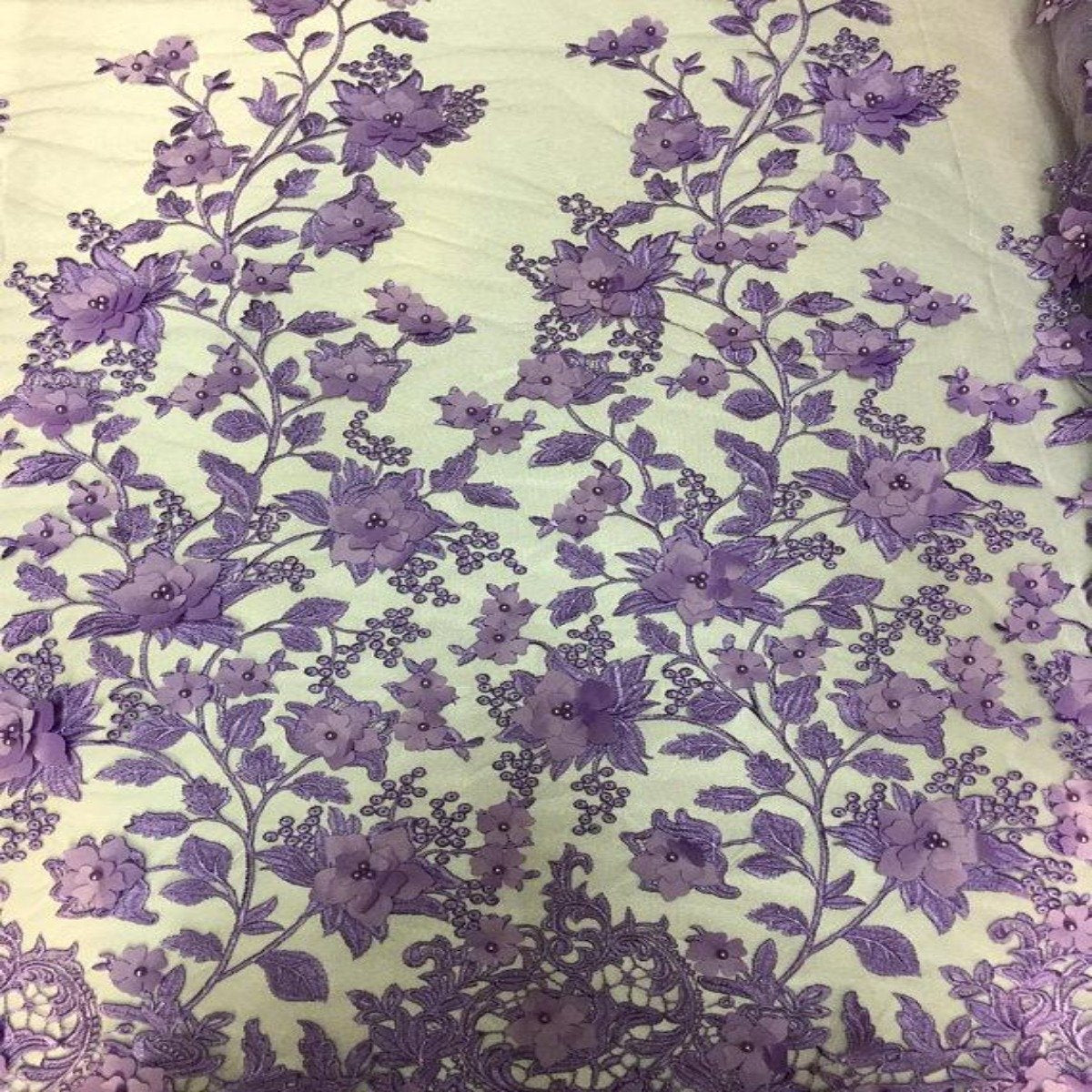 Lavender 3D Embroidered Satin Floral Pearl Lace Fabric - Fashion Fabrics Los Angeles