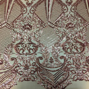 Dusty Rose Chantal Deluxe Sequins Lace Fabric