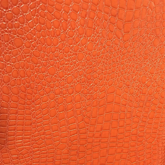 Orange Crocodile Vinyl Fabric